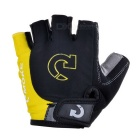 Moke Half-Finger Gloves for Cycling - Black + Yellow (L / Pair)