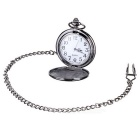Flip Open Quartz Pocket Watch w/ Waist Chain - Black + White (1 * 377)
