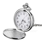 Flip Open Quartz Pocket Watch w/ Waist Chain - Silver + White(1 * 377)