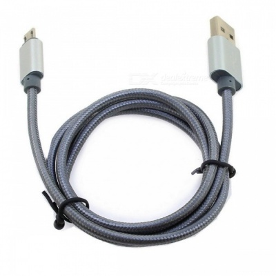 Micro USB Aluminum Alloy Braided Charging Cable - Grey (1.2m)