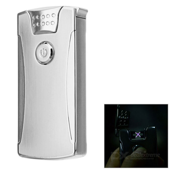 Rechargeable Double Electric Arc Pulse USB Cigarette Lighter - Silver