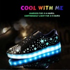 Fashion USB Charging Colorful LED Light Sports Shoes - Black (Size 43)