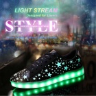 Fashion USB Charging Colorful LED Light Sports Shoes - Black (Size 45)