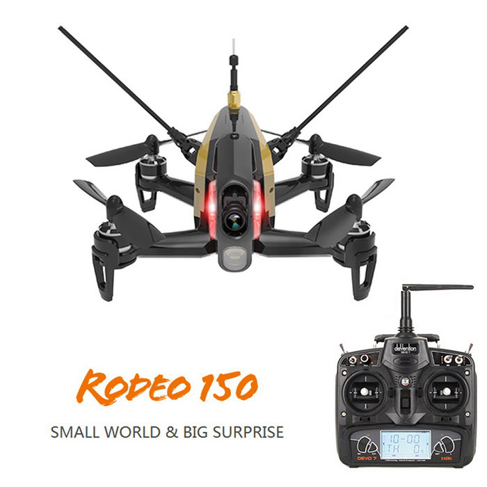 Walkera Rodeo 150 FPV 600TVL Camera DEVO 7 RC Quadcopter RTF - BlackR/C Airplanes&amp;Quadcopters<br>Form  ColorBlackModelRodeo 150MaterialPlastic + MetalQuantity1 DX.PCM.Model.AttributeModel.UnitShade Of ColorBlackGyroscopeYesChannels Quanlity6 DX.PCM.Model.AttributeModel.UnitFunctionUp,Down,Left,Right,Forward,Backward,Stop,Hovering,Sideward flightRemote TypeRadio ControlRemote control frequency2.4GHzRemote Control Range1000 DX.PCM.Model.AttributeModel.UnitSuitable Age Grown upsCameraYesCamera PixelOthers,600TVLLamp YesBattery TypeLi-polymer batteryBattery Capacity850 DX.PCM.Model.AttributeModel.UnitCharging Time2 DX.PCM.Model.AttributeModel.UnitWorking Time7~8 DX.PCM.Model.AttributeModel.UnitRemote Controller Battery TypeAARemote Controller Battery Number8 (not included)Remote Control TypeIncluded,Others,DEVO 7ModelMode 2 (Left Throttle Hand)CertificationFCCPacking List1 * Rodeo 150 Racing drone (include:1 * Body set, 4 * paddles, 1 * Tool)1 * DEVO-7 Transmitter (mode 2)1 * Charger (05#4-Z-23 charger, US plug, cable length: 120mm±2cm, Voltage: 12V)1 * 7.4 800mAh Li-Po battery1 * English manual1 * CD1 * Transmission cable (180mm±2cm)1 * USB cable (60mm±2cm)<br>