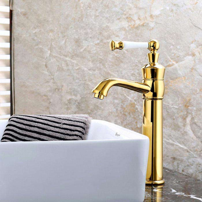 Fashion Single Handle One Hole Ti-PVD Bathroom Sink Faucet - GoldenBath Faucets<br>Form  ColorGolden + WhiteModelF-0746MaterialBrass + Zinc AlloyQuantity1 DX.PCM.Model.AttributeModel.UnitFinishOthers,Ti-PVDFaucet Spout MaterialStainless SteelFaucet Body MaterialBrassFaucet Handle MaterialZinc AlloyStyleContemporaryOther Features- Installation type:Centerset, <br>- With single hole,  <br>- one switch and ceramic valve;  <br>- Support cold / hot water switch;  <br>- Standard 1/2 thread; <br>- Water outlet length: 16cm; <br>- Water outlet height: 20cm.Packing List1 * Faucet2 * Hoses (50cm)1 * Sealing rings 1 * Screw nut<br>