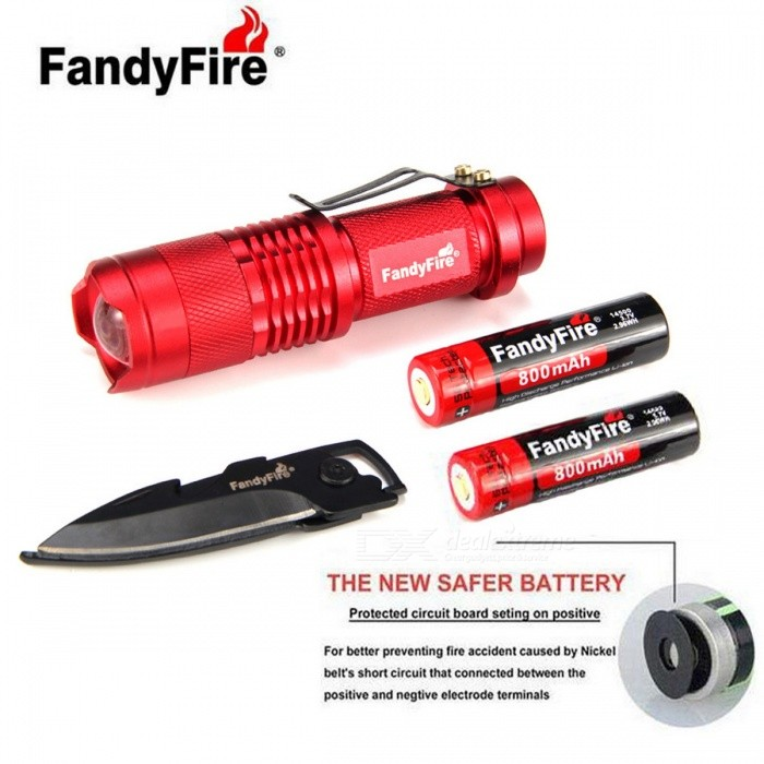 FandyFire SK68 XR-E 3-Mode 289lm Cold White Flashlight - Red14500 Flashlights<br>Form  ColorRedModelSK68Quantity1 DX.PCM.Model.AttributeModel.UnitMaterialAluminumOther FeaturesWaterproof,Zoom-to-throw,Others,Open your new FandyFire Shining Path, the new battery can be three hours FandyFire, durable, versatile combination keychain knife (size: Closed 7cm, expand 11.5cm, blade length 5cm Description: self-defense can be opened, can tighten hexagonal screws, when the fruit knife or other purposes) is a family of essential and outdoor suit ....BrandOthers,FandyFireEmitter BrandOthersLED TypeXR-EEmitter BINQ5Color BINCold WhiteNumber of Emitters1Working Voltage   3.7-4.2 DX.PCM.Model.AttributeModel.UnitPower Supply1*14500Current1100 DX.PCM.Model.AttributeModel.UnitTheoretical Lumens289 DX.PCM.Model.AttributeModel.UnitActual Lumens289 DX.PCM.Model.AttributeModel.UnitRuntime3 DX.PCM.Model.AttributeModel.UnitNumber of Modes3Mode ArrangementHi,Low,Fast StrobeMode MemoryNoSwitch TypeReverse clickySwitch LocationTailcapLensPlasticReflectorNoBeam Range189 DX.PCM.Model.AttributeModel.UnitStrap/ClipClip includedOutput(lumens)1-200Runtime(hours)2.1-3Packing List1 * Flashlight1 * 14500 battery (foot 800mAh)1 * 14500 US regulations dual charge (Charger Specification:- Input voltage: 100V~240V 50 / 60Hz of- Output voltage: 4.2V-800ma1 * Multifunction keychain knife (size: Closed 7cm, expand 11.5cm, blade length 5cm Description: self-defense, bottle opener, hexagonal screwdriver, fruit knife or other purposes)<br>