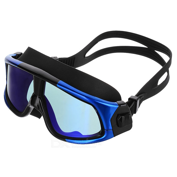 Fashionable HD Antifogging Large Frame Swimming Goggles - Black + BlueForm  ColorBlack + BlueModelMMPC6100Quantity1 DX.PCM.Model.AttributeModel.UnitMaterialPolycarbonate + PC + siliconeFrame MaterialPCOverall Width of Frame16.6 DX.PCM.Model.AttributeModel.UnitFrame Height6 DX.PCM.Model.AttributeModel.UnitLens MaterialPolycarbonateLens Width7 DX.PCM.Model.AttributeModel.UnitCertificationCEPacking List1 * Swimming goggles1 * Goggles case<br>