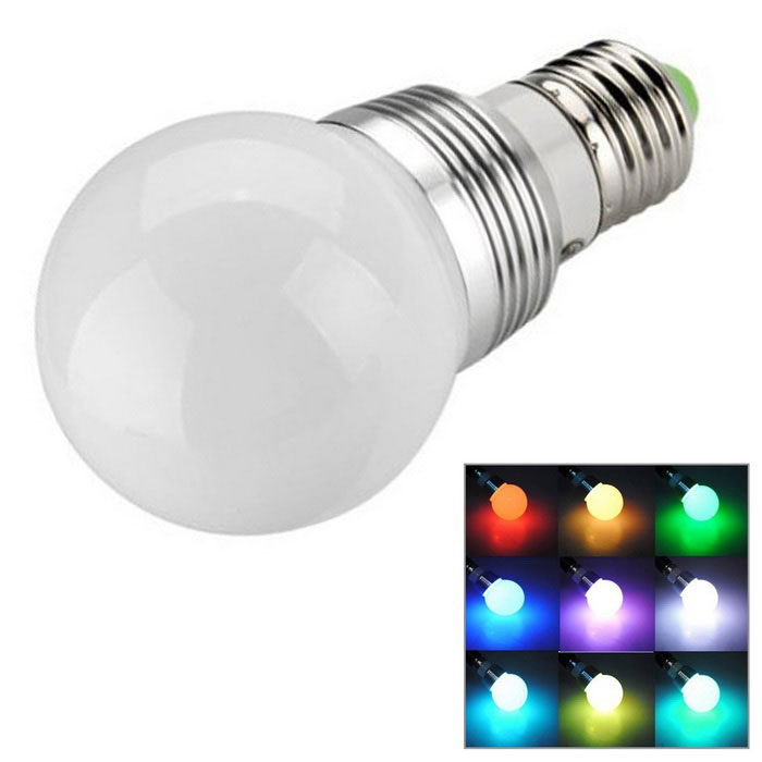 KWB E27 3W RGB LED Light Bulb Lamp Spotlight w/ Remote Control - White