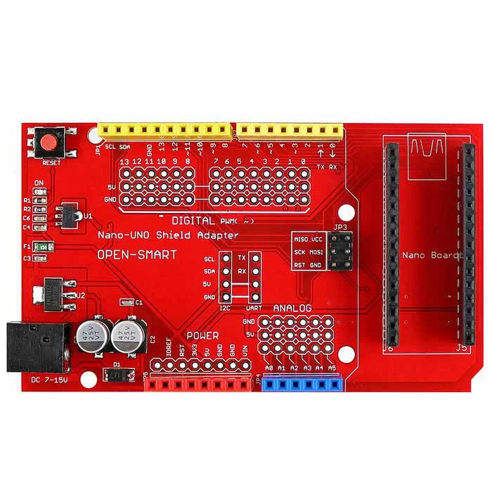 Nano to UNO Shield Adapter Board w/ Regulator / Fuse for Arduino NanoBoards &amp; Shields<br>Form ColorRed + BlackModelN/AQuantity1 DX.PCM.Model.AttributeModel.UnitMaterialPCB + Alloy + PlasticEnglish Manual / SpecYesDownload Link   http://drive.google.com/folderview?id=0B6uNNXJ2z4Cxbmp3WVd3UnpvdnM&amp;usp=sharingPacking List1 * Board<br>