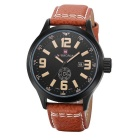 Fashion Waterproof Leather Band Stainless Steel Case Wrist Watch w/ Calendar