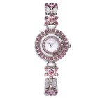 WEIQIN 270902 Flower-Shaped Bracelet Wrist Watch - Silver + Deep Pink
