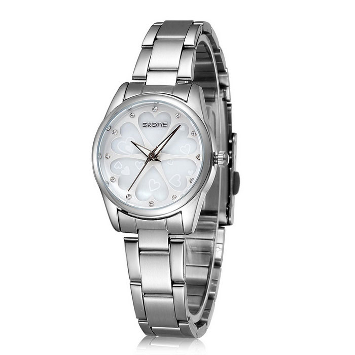 SKONE 504801 Love Flowers Dial Alloy Wrist Watch - Silver + White