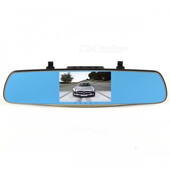 "4.3"" 1080P Rearview Dual Lens Car DVR - Blue + Golden"