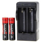 FandyFire 3.7V 800mAh Battery w/ US Plug Dual Charger - Black + Red