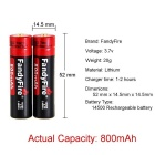 FandyFire 14500 Rechargeable 3.7V 800mAh Lithium-ion Battery - Red