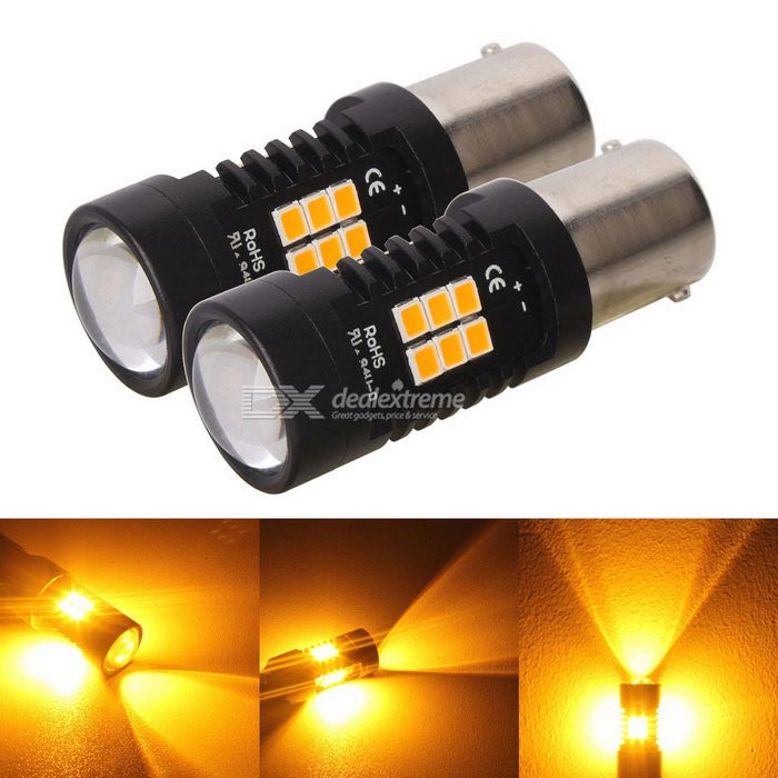 MZ 1156 ba15s 10.5W 21-2835 SMD Amber LED Car Turn Signals (DC 12~24V)Bayonet Bulbs(BA9S/BA15S)<br>Color BIN1156 AmberModelN/AQuantity2 DX.PCM.Model.AttributeModel.UnitMaterialAluminumForm ColorBlackEmitter TypeLEDChip BrandOthers,N/AChip Type2835 SMD LEDTotal EmittersOthers,21PowerOthers,10.5WWavelength597~577 DX.PCM.Model.AttributeModel.UnitTheoretical Lumens780 DX.PCM.Model.AttributeModel.UnitActual Lumens525 DX.PCM.Model.AttributeModel.UnitRate Voltage12~24Waterproof FunctionNoConnector Type1156Other FeaturesActual power: 5WApplicationSteering lightPacking List2 * LED Lights<br>