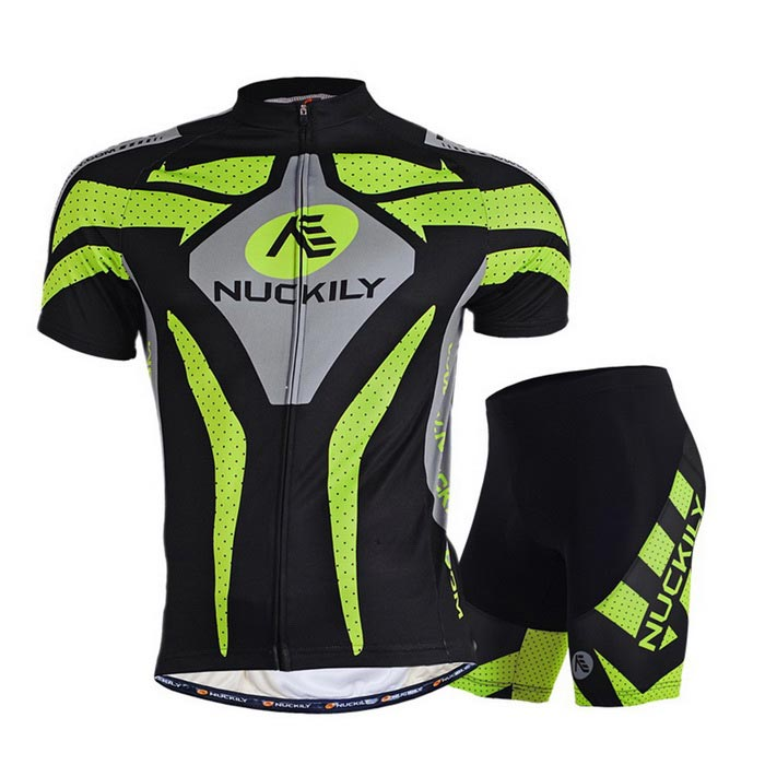 NUCKILY Outdoor Cycling Short Jersey + Short Pants Set - Green (XXXL)