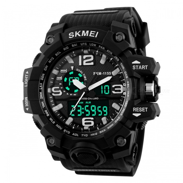 SKMEI 1155 50M Waterproof Multifunction Sport Watch - BlackSport Watches<br>Form  ColorBlackQuantity1 pieceShade Of ColorBlackCasing MaterialPlastic &amp; MetalWristband MaterialPlastic &amp; MetalSuitable forAdultsGenderMenStyleWrist WatchTypeSports watchesDisplayAnalog + DigitalBacklightYESMovementOthers,Double Japan MovementDisplay Format12/24 hour time formatWater ResistantWater Resistant 5 ATM or 50 m. Suitable for swimming, white water rafting, non-snorkeling water related work, and fishing.Dial Diameter5.2 cmDial Thickness1.7 cmWristband Length26 cmBand Width2.5 cmBatteryCR2025*1, SR626SW*1Packing List1 * Watch<br>