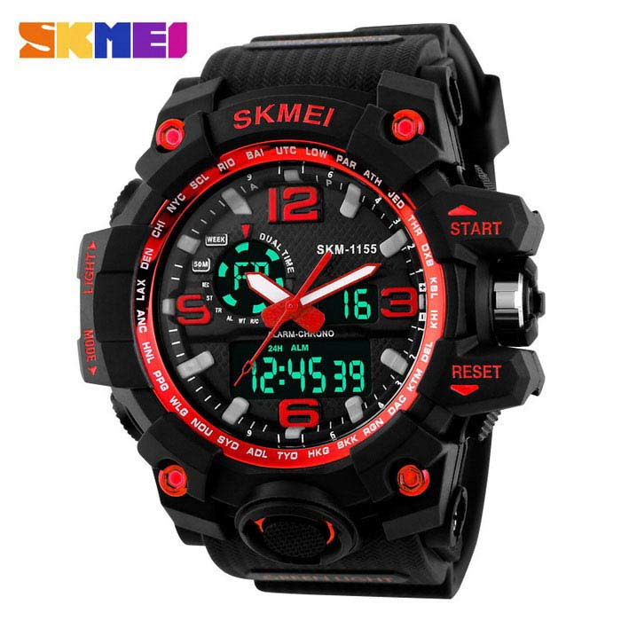 SKMEI 1155 50M Waterproof Multifunction Sport Watch - RedSport Watches<br>Form  ColorRedQuantity1 DX.PCM.Model.AttributeModel.UnitShade Of ColorRedCasing MaterialPlastic &amp; MetalWristband MaterialPlastic &amp; MetalSuitable forAdultsGenderMenStyleWrist WatchTypeSports watchesDisplayAnalog + DigitalBacklightYESMovementOthers,Double Japan MovementDisplay Format12/24 hour time formatWater ResistantWater Resistant 5 ATM or 50 m. Suitable for swimming, white water rafting, non-snorkeling water related work, and fishing.Dial Diameter5.2 DX.PCM.Model.AttributeModel.UnitDial Thickness1.7 DX.PCM.Model.AttributeModel.UnitWristband Length26 DX.PCM.Model.AttributeModel.UnitBand Width2.5 DX.PCM.Model.AttributeModel.UnitBatteryCR2025*1, SR626SW*1Packing List1 * Watch<br>