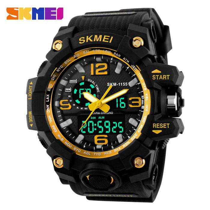 SKMEI 1155 50M Waterproof Multifunction Sport Watch - GoldSport Watches<br>Form  ColorGoldenQuantity1 pieceShade Of ColorGoldCasing MaterialPlastic &amp; MetalWristband MaterialPlastic &amp; MetalSuitable forAdultsGenderMenStyleWrist WatchTypeSports watchesDisplayAnalog + DigitalBacklightYESMovementOthers,Double Japan MovementDisplay Format12/24 hour time formatWater ResistantWater Resistant 5 ATM or 50 m. Suitable for swimming, white water rafting, non-snorkeling water related work, and fishing.Dial Diameter5.2 cmDial Thickness1.7 cmWristband Length26 cmBand Width2.5 cmBatteryCR2025*1, SR626SW*1Packing List1 * Watch<br>