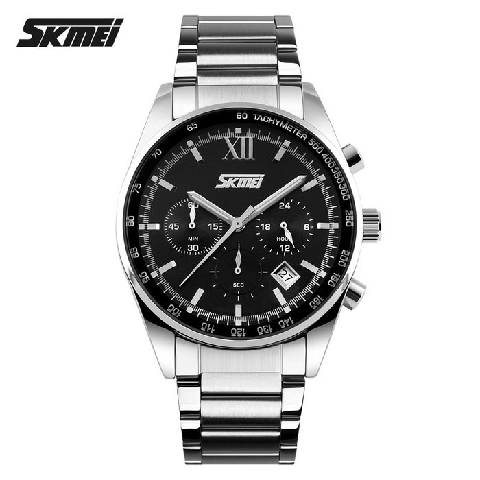 SKMEI 9096 30m Waterproof 3 Dial Steel Belt Quartz Watch - Black