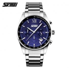 SKMEI 9096 30m Waterproof 3 Dial Steel Belt Quartz Watch - Blue