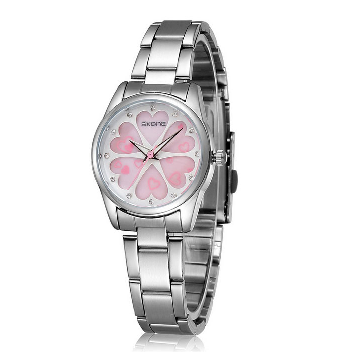 SKONE 504802 Love Flowers Dial Alloy Wrist Watch - Silver + PinkQuartz Watches<br>Form  ColorSilver + pink  504802Model504802Quantity1 DX.PCM.Model.AttributeModel.UnitShade Of ColorSilverCasing MaterialAlloyWristband MaterialAlloySuitable forAdultsGenderWomenStyleWrist WatchTypeSports watchesDisplayAnalogMovementQuartzDisplay Format12 hour formatWater ResistantNODial Diameter3.02 DX.PCM.Model.AttributeModel.UnitDial Thickness0.9 DX.PCM.Model.AttributeModel.UnitWristband Length22 DX.PCM.Model.AttributeModel.UnitBand Width1.17 DX.PCM.Model.AttributeModel.UnitBattery1 * S377Packing List1 * Watch<br>