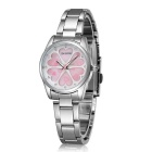 SKONE 504802 Love Flowers Dial Alloy Wrist Watch - Silver + Pink