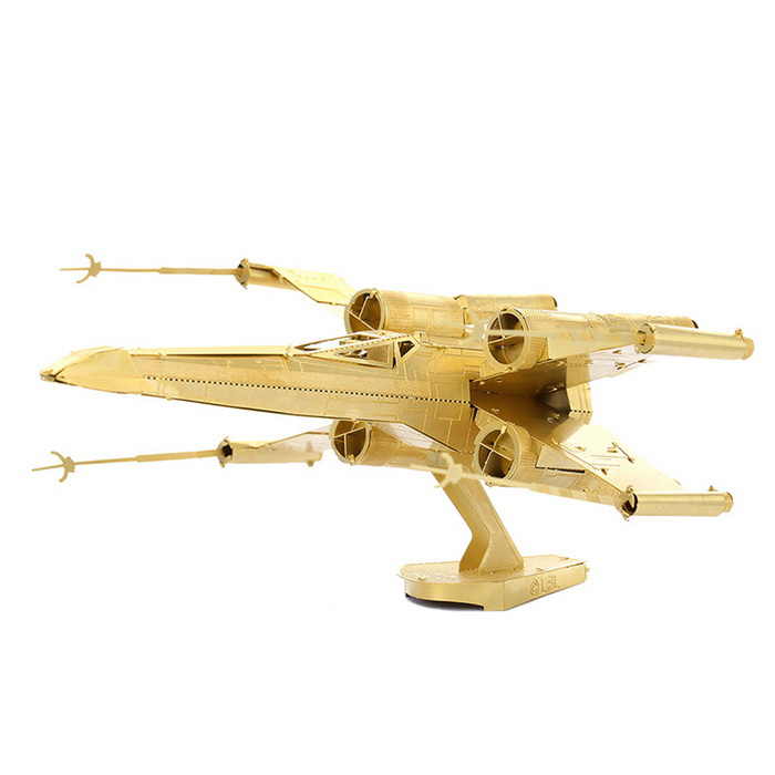DIY 3D Puzzle Model Assembled Brass X-wing Fighter Toy - Golden