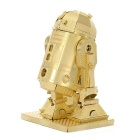 DIY 3D Puzzle Assembled Model Toy Robot R2D2 Brass Toy - Golden