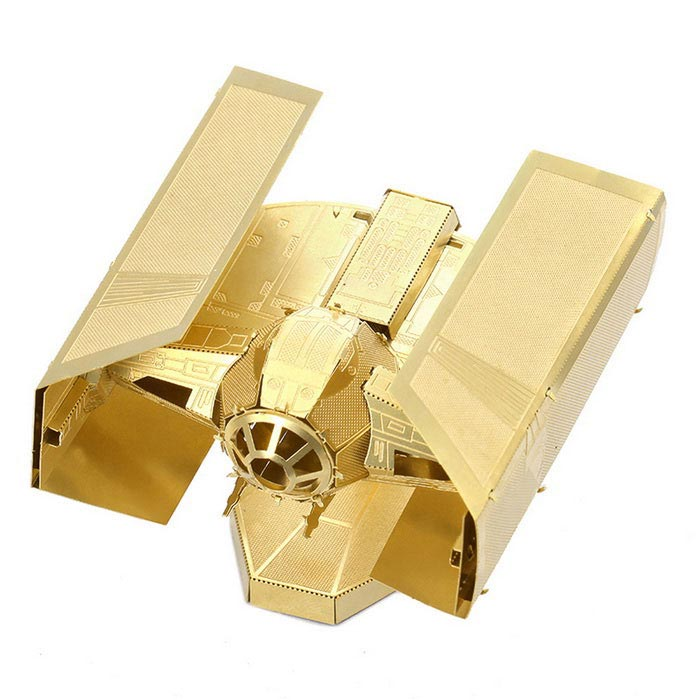 DIY 3D Puzzle Model Assembled Brass Vader TIE Fighter Toy - Golden
