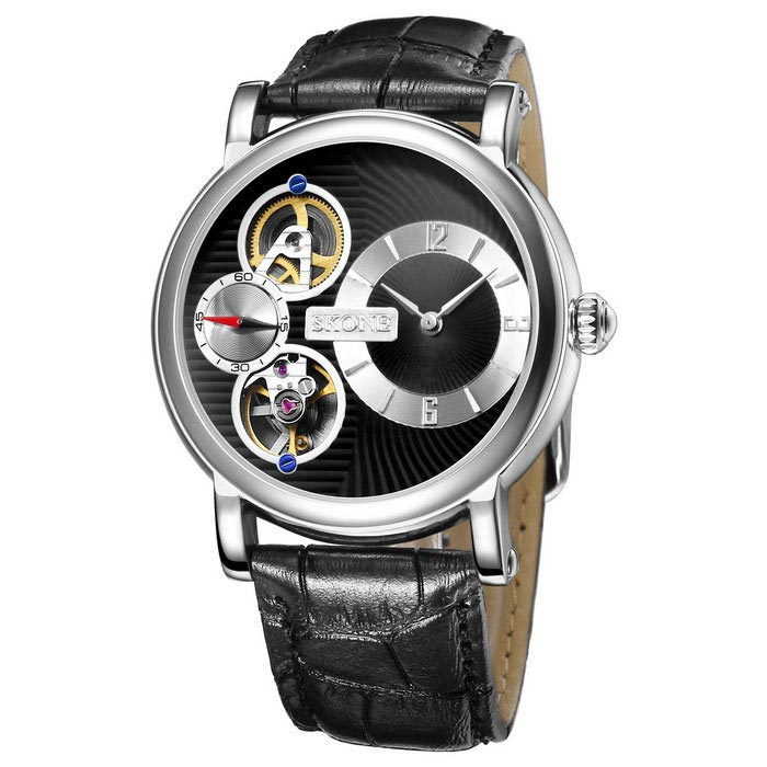 SKONE 394601 Men's Automatic Mechanical + Quartz Wrist Watch - Black