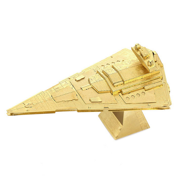 DIY 3D Puzzle Assembled Model Toy Star Destroyer Brass - GoldenBlocks &amp; Jigsaw Toys<br>Form  ColorGolden YellowMaterialBrassQuantity1 DX.PCM.Model.AttributeModel.UnitNumber2Size11 * 6.4 * 6.5cmSuitable Age 3-4 years,5-7 years,8-11 years,12-15 years,Grown upsPacking List2 * Model  boards<br>