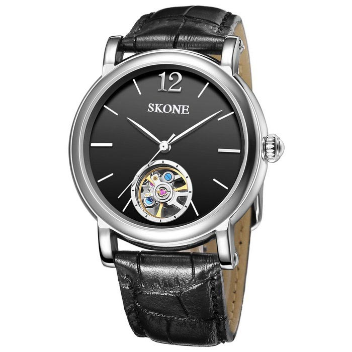 SKONE 394701 Mens Automatic Mechanical Wrist Watch - BlackMechanical Watches<br>Form  ColorBlack Belt black-faced 394701Model394701Quantity1 DX.PCM.Model.AttributeModel.UnitShade Of ColorBlackCasing MaterialAlloyWristband MaterialGenuine LeatherSuitable forAdultsGenderMenStyleWrist WatchTypeCasual watchesDisplayAnalogMovementMechanicalDisplay Format12 hour formatWater ResistantFor daily wear. Suitable for everyday use. Wearable while water is being splashed but not under any pressure.Dial Diameter4.21 DX.PCM.Model.AttributeModel.UnitDial Thickness1.48 DX.PCM.Model.AttributeModel.UnitWristband Length24.3 DX.PCM.Model.AttributeModel.UnitBand Width2.05 DX.PCM.Model.AttributeModel.UnitBattery1 * S377Packing List1 * Watch<br>
