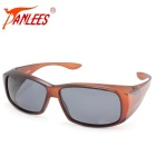 Panlees DE589 PC Quadro TAC Lens Sunglasses - Matte Brown + cinza