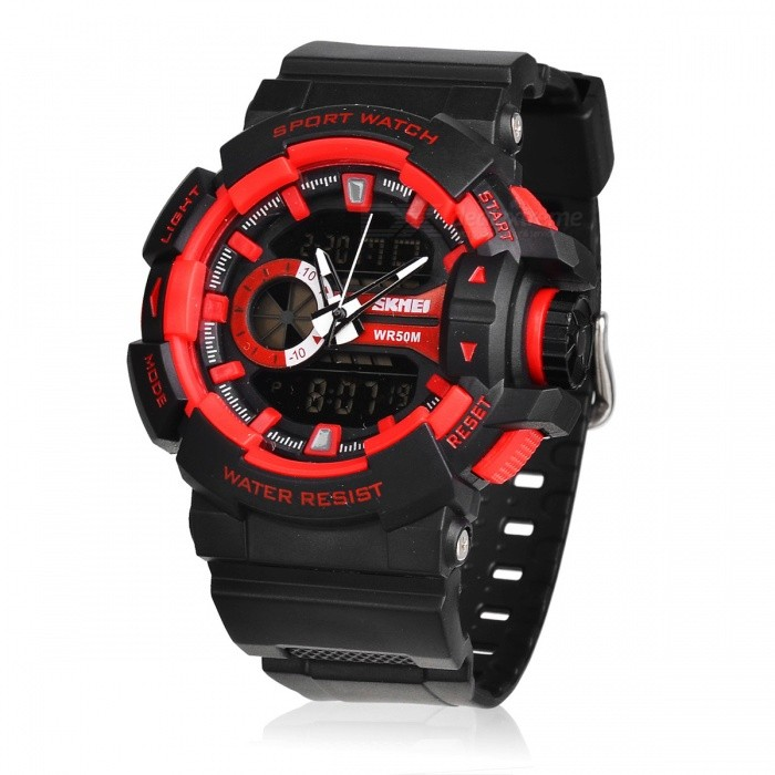 SKMEI 1117 50M Waterproof Multifunction Sports Watch - RedSport Watches<br>Form  ColorRedModel1117Quantity1 DX.PCM.Model.AttributeModel.UnitShade Of ColorRedCasing MaterialPlastic &amp; MetalWristband MaterialPlasticSuitable forAdultsGenderMenStyleWrist WatchTypeSports watchesDisplayAnalog + DigitalBacklightYesMovementOthers,Double Japan MovementDisplay Format12/24 hour time formatWater ResistantWater Resistant 5 ATM or 50 m. Suitable for swimming, white water rafting, non-snorkeling water related work, and fishing.Dial Diameter5 DX.PCM.Model.AttributeModel.UnitDial Thickness1.7 DX.PCM.Model.AttributeModel.UnitWristband Length260 DX.PCM.Model.AttributeModel.UnitBand Width2.5 DX.PCM.Model.AttributeModel.UnitBatteryCR2025*1<br>SR626SW*1Packing List1 * Watch<br>