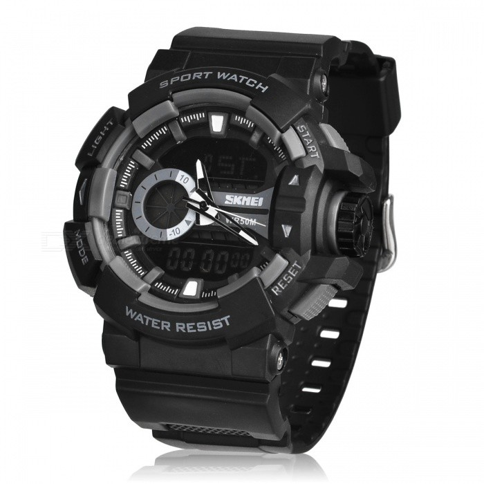 SKMEI 1117 50m Waterproof Multifunction Sports Watch - GraySport Watches<br>Form  ColorGreyModel1117Quantity1 DX.PCM.Model.AttributeModel.UnitShade Of ColorGrayCasing MaterialPlastic &amp; MetalWristband MaterialPlasticSuitable forAdultsGenderMenStyleWrist WatchTypeSports watchesDisplayAnalog + DigitalBacklightYesMovementOthers,Double Japan MovementDisplay Format12/24 hour time formatWater ResistantWater Resistant 5 ATM or 50 m. Suitable for swimming, white water rafting, non-snorkeling water related work, and fishing.Dial Diameter5 DX.PCM.Model.AttributeModel.UnitDial Thickness1.7 DX.PCM.Model.AttributeModel.UnitWristband Length260 DX.PCM.Model.AttributeModel.UnitBand Width2.5 DX.PCM.Model.AttributeModel.UnitBatteryCR2025*1<br>SR626SW*1Packing List1 * Watch<br>