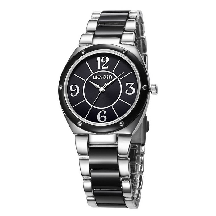WeiQin 392202 Bezel Nail Decorated Dial Wrist Watch - Silver + Black