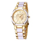 WeiQin 392204 Bezel Nail Decorated Dial Wrist Watch - Golden + White