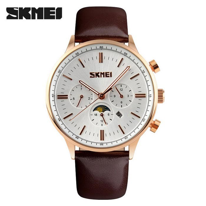 SKMEI 9117 Men's Cowhide Strap Analog Quartz Watch - Gold + White