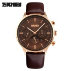 SKMEI 9117 Men's Cowhide Strap Analog Quartz Watch - Gold + Coffee