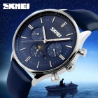 SKMEI 9117 Men's Cowhide Strap Analog Quartz Watch - Silver + Blue