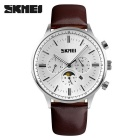 SKMEI 9117 Men's Cowhide Strap Analog Quartz Watch - Silver + White