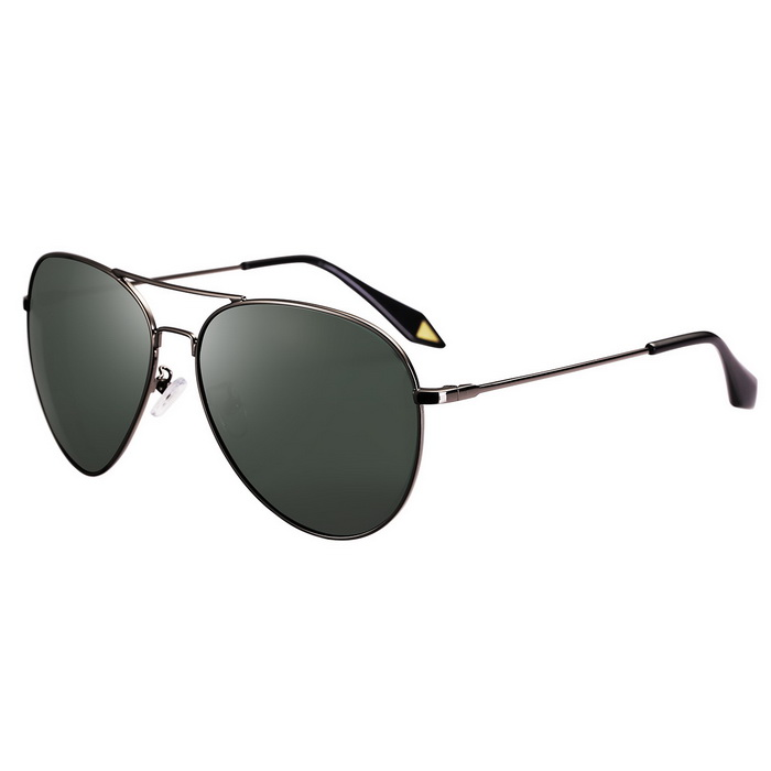 ReeDoon 2533 Multiface Fitted Polarized Sunglasses - Gun Color + Green