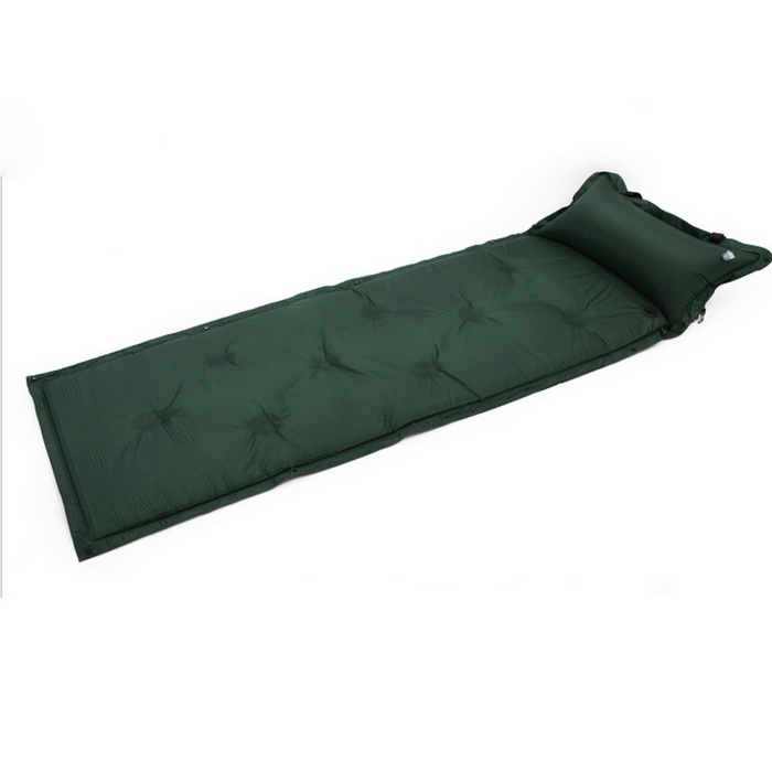 Automatic Inflatable Waterproof Mattress w/ Pillow - Dark GreenSleeping Pad<br>Form  ColorDark GreenQuantity1 DX.PCM.Model.AttributeModel.UnitMaterial190T polyester &amp; PVC &amp; High rebound spongeBest UseCampingSleeping Pad TypeSelf-inflatingSleeping Pad ShapeSemi RectangularPacking List1 * Mat1 * Storage Bag<br>