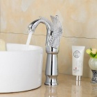 Contemporary Chrome Finish Swan Shaped Bathroom Basin Faucet - Silver