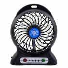 Portable Multifunctional Lithium Battery Fan w/ LED Light - Black