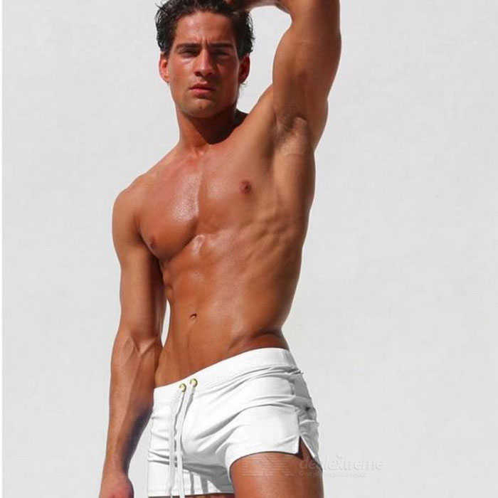 Fashion Back Zipper Pocket Design Beach Swimming Trunks - White (L)