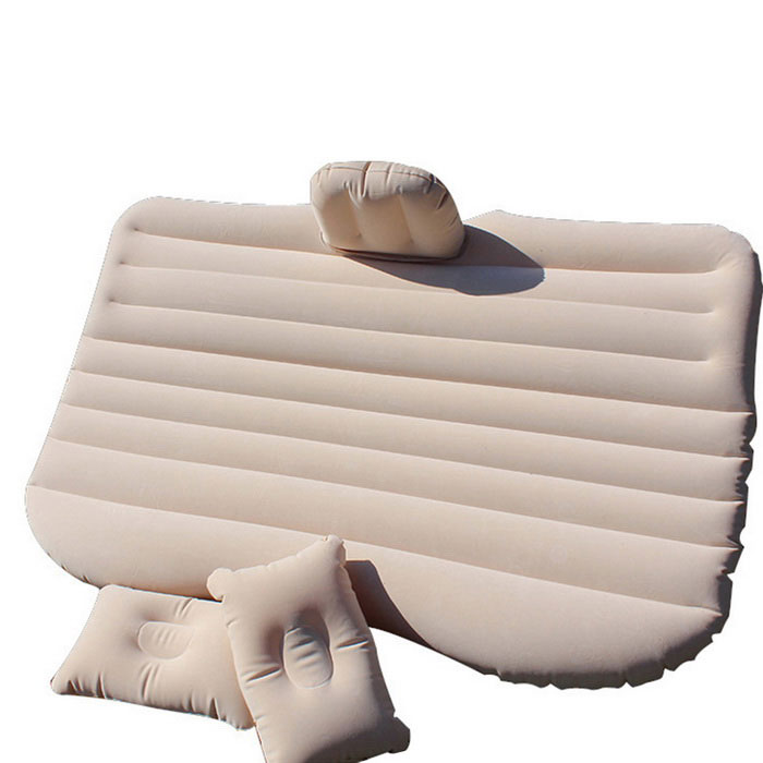 Inflatable Flocking Car Mattress - BeigeCar Cushions and Pillows<br>Form  ColorOff-whiteModel-Quantity1 DX.PCM.Model.AttributeModel.UnitMaterialFlocking materialShade Of ColorYellowTypeCushionSurface MaterialFlocking materialLining MaterialFlocking materialPacking List1 * Car mattress<br>