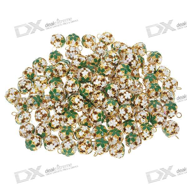 Decorative 14mm Metal Carving Spherical Bells with Loops - Green + White + Golden (100-Piece Pack)